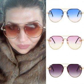 Gradient tint fashion gold bees female pilot sunglasses