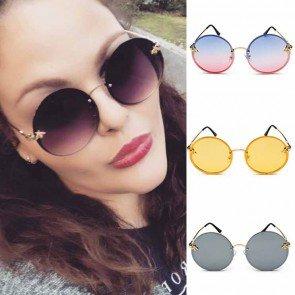 Round Flat Lens Gold Tone Bees Embellised Sunglasses