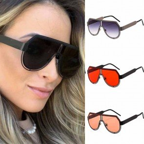 Stylish Oversized Pilot Metal Frame Aviator Sunglasses