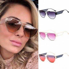 Luxury fashion shades alloy frame cat eye sunglasses