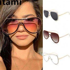 Vintage hollow out frame oversize gradient sunglasses