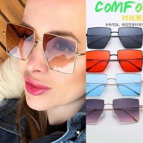 Oversized Square Sunglasses Metal Frame Big Shades