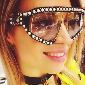Oversize modern geometric aviators pearl sunglasses