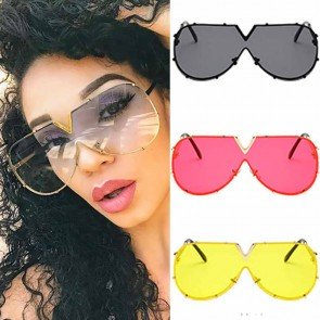 Mod Aviator Sunglasses Geometric Shades Rimless Lens