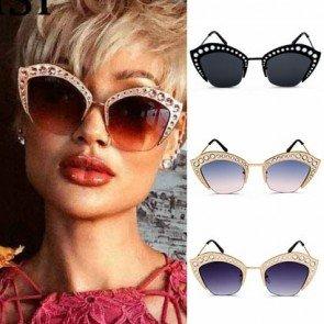Retro Cat's Eye Sunglasses Oversize Rhinestone Shades