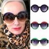 Round feminine shades multicolored rainbow sunglasses