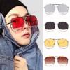 Oversize Metal Frame Flip Up Lens Heptagon Sunglasses