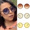 Oversize silhouette retro round rhinestone sunglasses