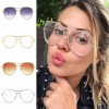 Metallic Frame Rhinestone Rim Sunglasses Clear Aviators