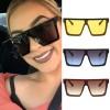 Minimal square frame one piece flat top sunglasses