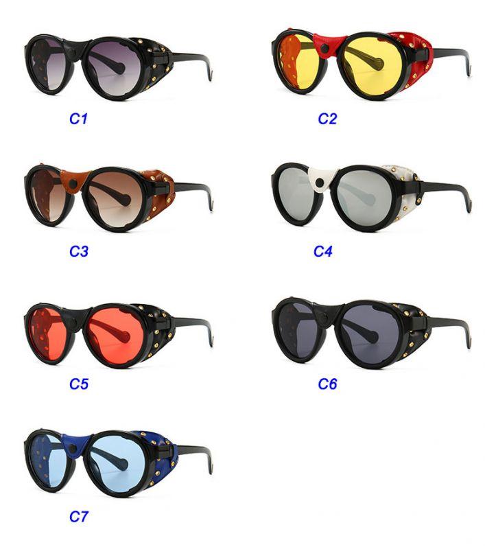Retro steampunk aviator leather side cover sunglasses