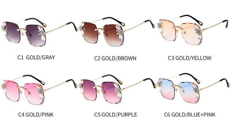 Oversized Square Women Luxury Bling Crystal Sunglasses