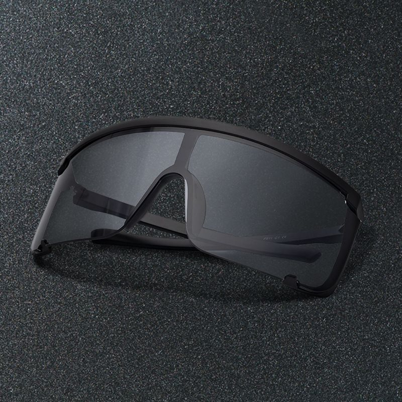 Oversized flat top full coverage mono lens sunglasses