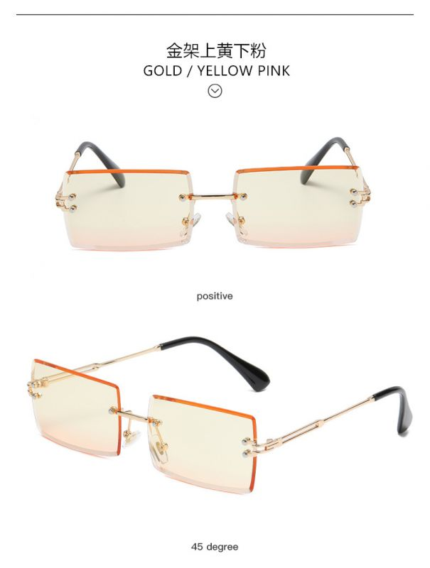 Girls small elegant chic rectangle rimless sunglasses