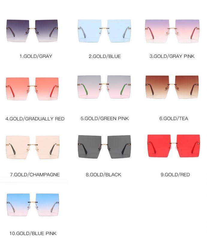 Fashion oversized lens rimless square sunglasses