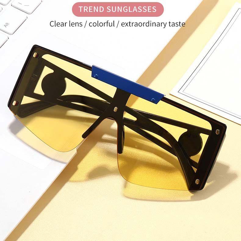 Fashion girls metal top bar square oversized sunglasses