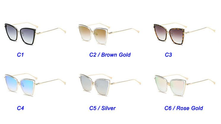 Luxury high pointed gold frame big cat eye sunglasses