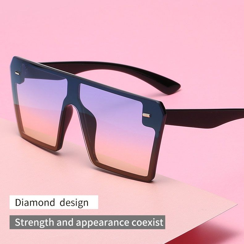Flat Top One Piece Shade Oversized Square Sunglasses