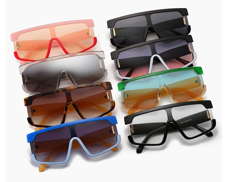 Futuristic Shield One Piece Lens Flat Top Sunglasses