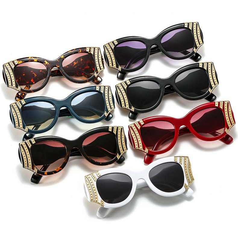 Ladies colorful lens cute small cat eye sunglasses