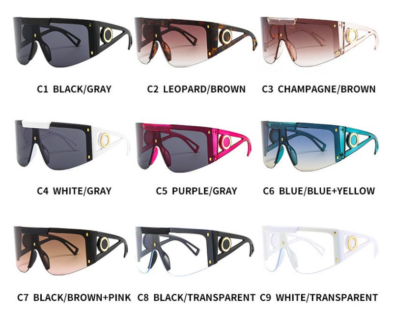 Futuristic Oversized Rimless Mask Mono Lens Sunglasses