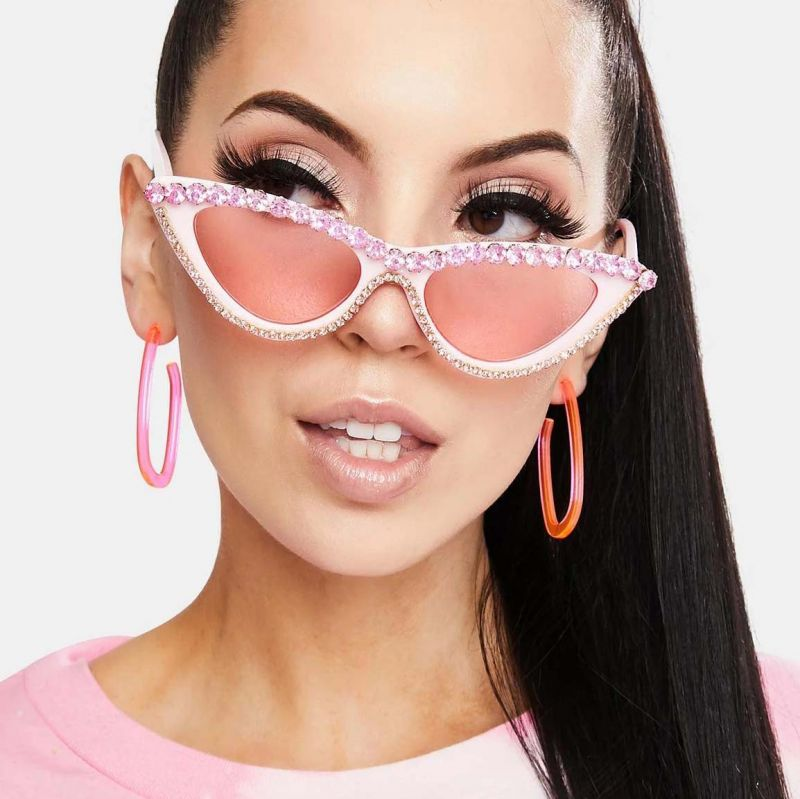Luxury Bling Rhinestones Cat Eyes Diamond Sunglasses