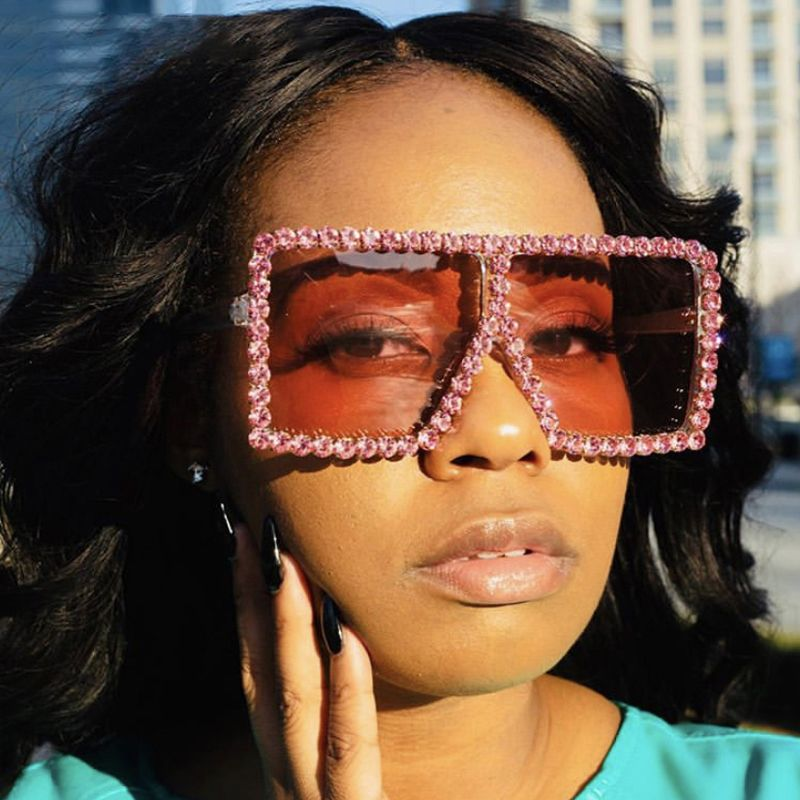 Rhinestone oversized flat top luxury bling sunglasses