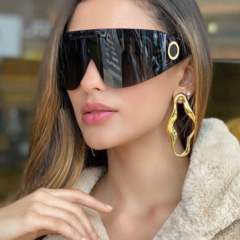 Futuristic Oversized Shield Mask Mono Lens Sunglasses