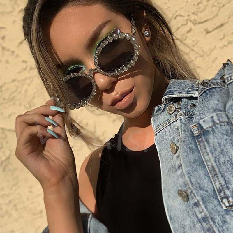 Bling Luxury Costume Accessory Diamante Oval Sunglasses