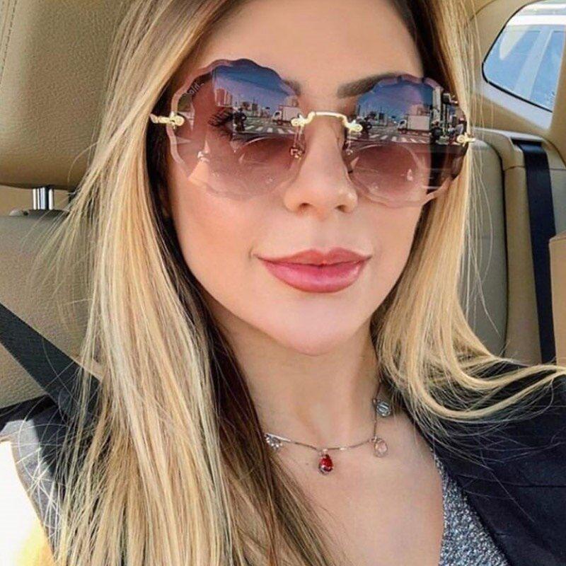 Female rimless ripple lenses fashion round sunglasses