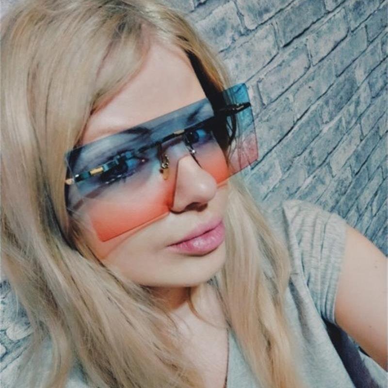 Sporty Flat Top Sunglasses Super Oversize Shield Shades