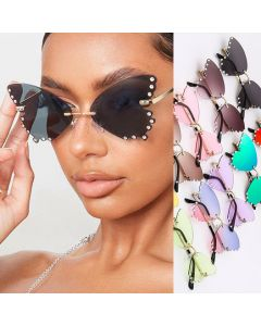 Rimless butterfly sunglasses party rhinestone shades