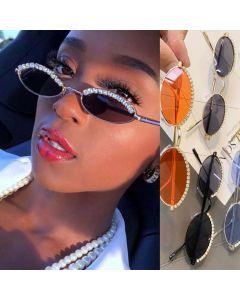 Rhinestones Decor Cute Small Oval Bling Sunglasses