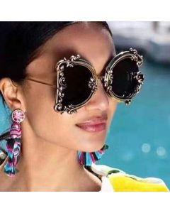 Catwalk glamorous big luxury baroque flower sunglasses