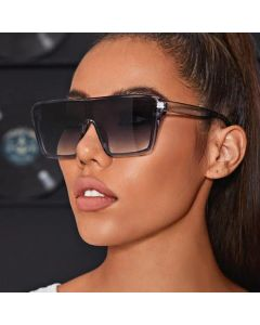 Oversized Flat Top Mirrored One Piece Lens Sunglasses