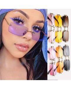 Small Rectangle Rimless Lens Fashion Girls Sunglasses