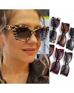 Luxury gold tone V logo cat eye oversized sunglasses