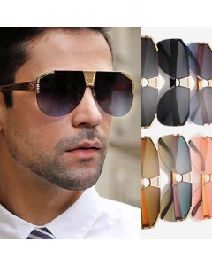 Luxury Half Frame Aviator Semi Rimless Sunglasses