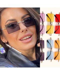 Small Square Rimless Vintage Unisex Punk Sunglasses