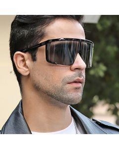 Oversized flat top full coverage mono lens sunglasses