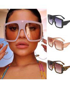 Modern flat top big frame shield square sunglasses
