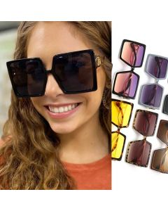 Oversize Square Sunglasses Big Frame Golden Hollow Legs