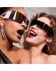 Futuristic Mono Lens Shield Wrap Around Sunglasses