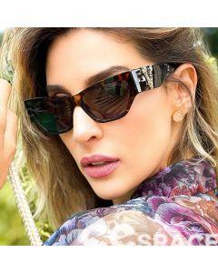 Luxury Retro Gold V Logo Bold Frame Cat Eye Sunglasses