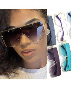 Gradient Studded Mono Lens Flat Top Sunglasses