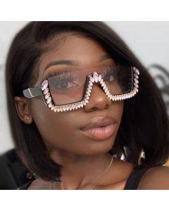 Luxury Rhinestones Flat Top Half Frame BLING Sunglasses