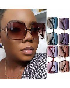 Street fashion rimless lens large square sunglasses