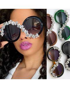 Faddish rhinestones bling crystals round sunglasses