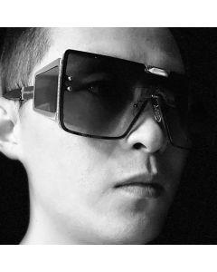 Punk One Piece Lens Side Shield Flat Top Sunglasses