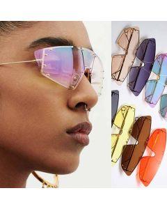 Sexy cat eye female metal frame studded sunglasses